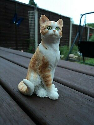 cat ornament/figurine ginger/white cat sat down playful pal collection regency