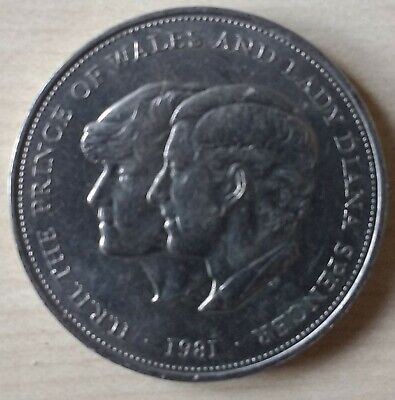 1981, 25p Crown Coin, HRH the Prince of Wales and Lady Diana Spencer Wedding