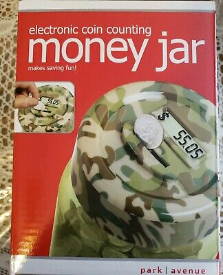 Park Avenue Electronic Digital LCD Coin Counting Money Jar Camo - New