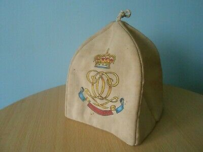 RARE ANTIQUE VICTORIAN 7TH HUSSARS MILITARY PADDED COTTON TEA COZY c1900
