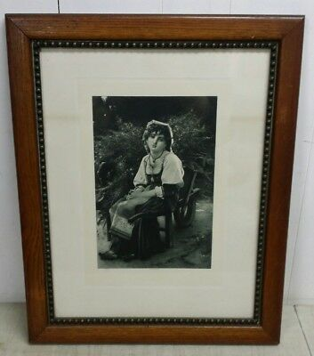 """Antique Beaded Mission Oak Frame with 1881 Goupil & Co Print, 17.5"""" x 21.5"""" OA"""