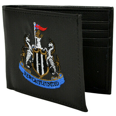Official Newcastle Football Club Crest Embroidered Leather Wallet Man Purse Gift