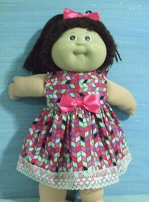 "16"" CABBAGE PATCH Dolls Clothes / DRESS & HEADBAND  / Pink Chevron"