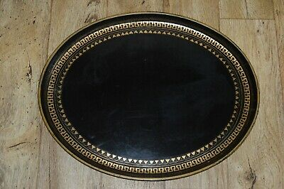 Large 19Th Century Antique Oval Tray  Metal Toleware Greek Key Design