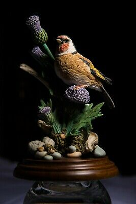 Country Artists. Goldfinch with Thistles by Michael Abberley. Hand crafted.