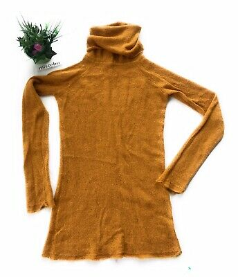 Women Mustard Tweed Knit Turtleneck Slim Fit Pullover Sweater Dress Tunic Top