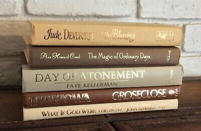 Decorative Lot of 5 TAN BEIGE NEUTRAL Books Stack Home Display Vtg/Mod Staging