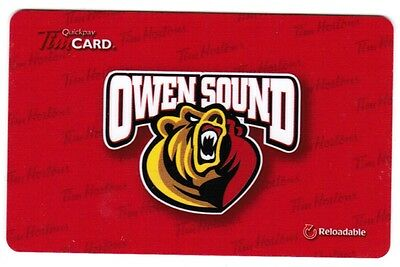 TIM HORTON'S  (2) Gift Cards 2016  OWEN SOUND ATTACK  (NO BALANCE)  RARE