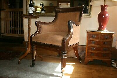 Antique (William iv) mahogany, leather library/club/office armchair