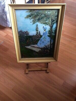 Antique Rare All Hand Painted On Glass Crinoline Lady In Original Frame
