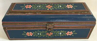 Antique Wood Box Folk Art Hand Painted Flowers Floral Dome Top Locked Drawer