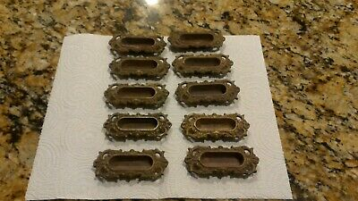 Lot 10 Vtg Antique Gold Window Sash Lifts Recessed Pulls Victorian Art Nouveau