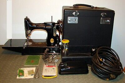 Vintage Singer Featherweight Sewing Machine Scroll With Case Early # Ae217369 –