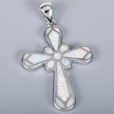 Celtic Cross White Fire Opal Silver Jewelry Necklace Pendant