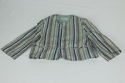 Vintage Boys 18M  Jack Jar Jogs White Blue Striped Blazer Suit Coat Jacket