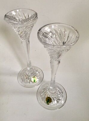 "Waterford Crystal Liam Candlesticks Candle Holder Jorge Perez 8"" Lot Of 2 Unused"