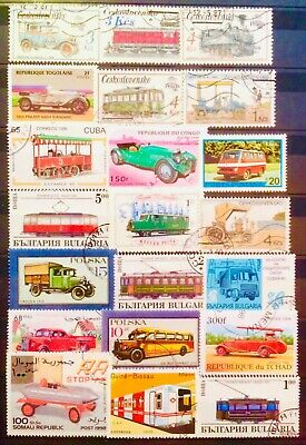 Transport Train Car Railway Bus Tram Thematic Topic Stamps Educational 09120619