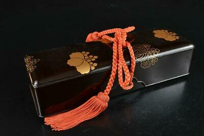 S5675: Japanese XF Wooden Lacquer ware LETTER BOX Fumibako Calligraphy tool
