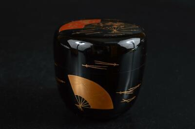 S5833: Japanese Wooden Lacquer ware TEA CADDY Natsume Chaire Container