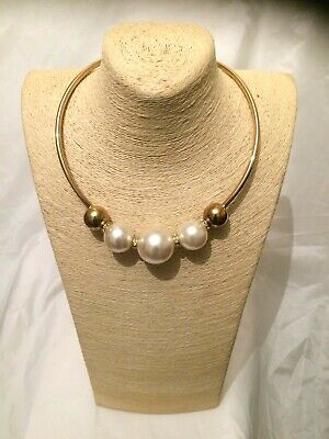Women STATEMENT Big Large Silver BEADED Faux Pearl Choker Necklace Retro Vintage