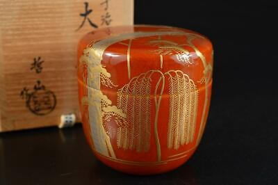 S6217: Japanese XF Wooden Lacquer ware TEA CADDY Natsume Jujube w/signed box