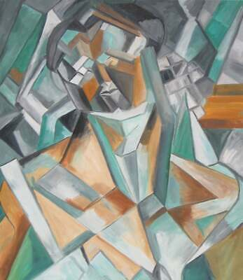 After Picasso's Head of a Woman Oil Paint Cubism Cubist Modern Art