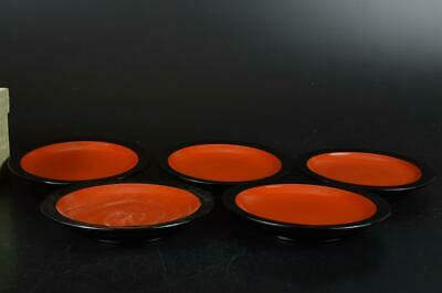 S6570: Japanese Wooden Lacquer ware SERVING PLATE/dish 5pcs, Tea Ceremony