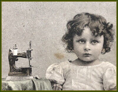 Rare~Pair Of Antique Muller No.6 Toy Hand Crank Sewing Machine Post Cards