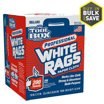 SELLARS 200-Pack Professional White Rags Paper Cloth Towels in Dispenser Box