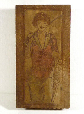 Antique Pyro Art 1920s Golfer Girl Wood Hanky Box with Drawer