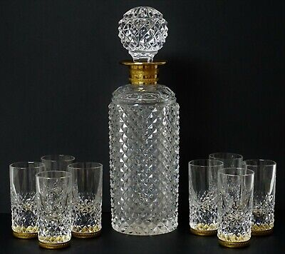 Antique French Baccarat Gilt Bronze Cut Decanter & 8 Crystal Cordials