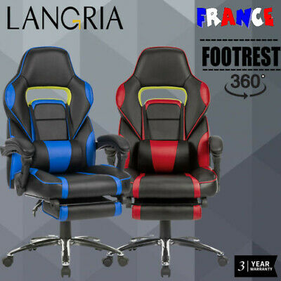 LANGRIA Chefsessel Stuhl Executive Bürostuhl Sitz Leder Racing Gaming Chair FR