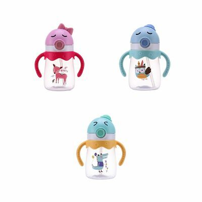 Toddler Baby Kid Infant Feeding Drinking Water Straw Bottle 350ml Water Cup