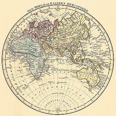 1825 Map Old World or Eastern Hemisphere Vintage History Home Office Wall Poster