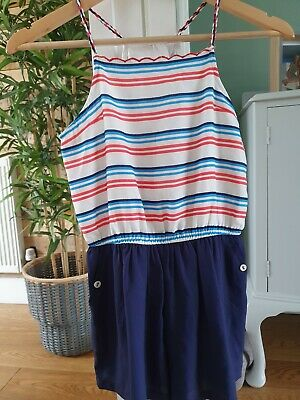 M&S Girls Red White Blue Playsuit Age 9-10 Years Worn Once