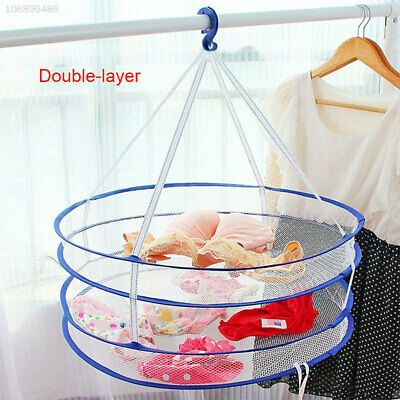 CA11 Hanging Windproof Clothesline Clothes Drying Basket Nylon Mesh Space Save