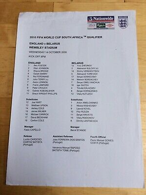 England v Belarus Football Team sheet 2010 World Cup Qualifier 14/10/09 Wembley