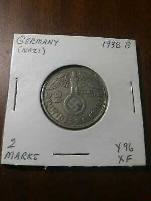 1934 A 2 Mark German SILVER WW2 Garrisonkirche Reich Coin 5* Rare