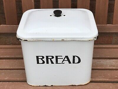 Vintage Enamel Bread Bin White Orginal 1950's Kitchenalia Retro Farm House