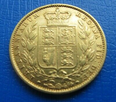 1852 Victoria Young Head Shield Back Full Gold Sovereign No Die Number