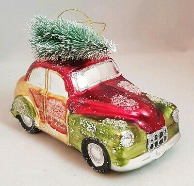 """Car Classic Christmas Tree Green Red Glass Ornament 1940's Vintage Inspired 5"""""""