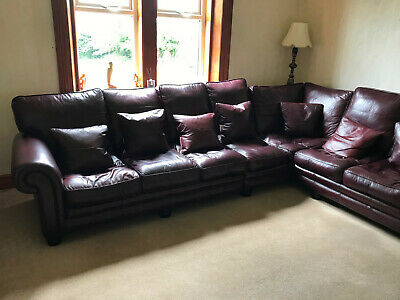 Corner leather Sofa with 2 seater Sofa, footstool and cushions