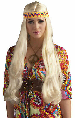 W535 Brown Hippie Afro Curly Wig Hippy 1960s 1970s Costume Hair Headscarf Disco