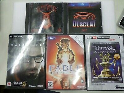 PC Software Bundle - 5X CD-ROM games: Half Life 2, Fable, Unreal, Dungeon Keeper