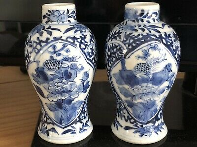 ANTIQUE PAIR OF CHINESE PORCELAIN VASES BLUE AND WHITE 19th C