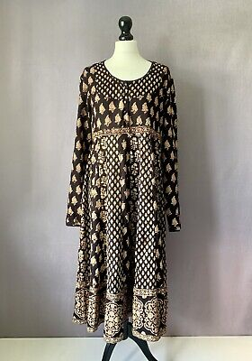 17f019886b0 EAST ARTISAN w/ ANOKHI Gorgeous Block Print Cotton Summer Dress 12 RARELY  WORN