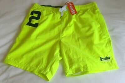 Superdry Mens Water Polo Swim Shorts Fluroescent Yellow (M)
