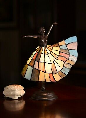 Joanne Tiffany@Art Deco Dancer Figurines Tiffany Stained Glass Accent Lamp