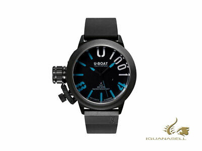 U-Boat U-1001 Classico Automatic Watch - Black/Blue - Black strap - 47mm - 7541