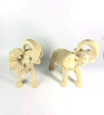 Vintage Pair Of (2) Made In Italy Heavy Stone Resin Elephants